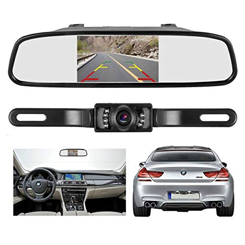 ATian Backup Camera and Monitor Kit For Car, Waterproof High Definition Color Wide Viewing Angle License Plate Car Rear View Camera+4.3 Inch TFT Car Auto LCD Screen Monitor