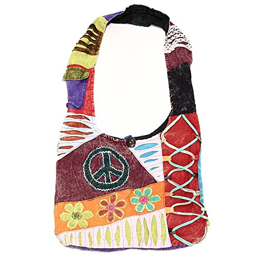 Peace Flowers Patterns Variety Sign and Shoulder Bag Hippie Sling Bohemian Cotton 2031 Handmade Crossbody q4HZva