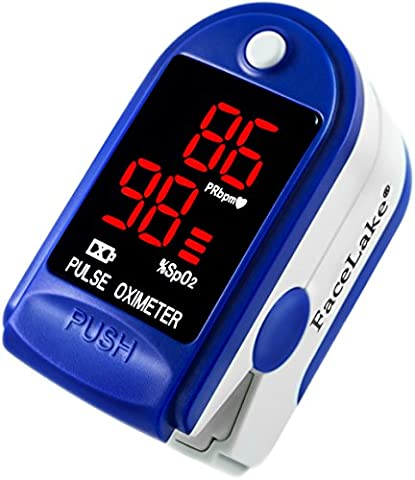 FaceLake FL400 Pulse Oximeter with Carrying Case, Batteries, Neck/Wrist Cord - Blue (Pulse Oximeter Digital)