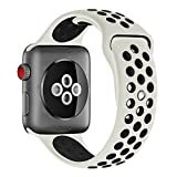 iOME Soft Silicone Bracelet Band Wristband with Quick Release Replacement Band for 2017 New Watch 38mm Series 3/2/1 Sport Edition (M/L, Antique White / Black)