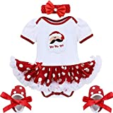 FEESHOW 4Pcs Infant Baby Girls Santa Claus/Christmas Tree Romper Outfits Costume