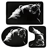3 Piece Bath Mat Rug Set,Bear,Bathroom Non-Slip Floor Mat,Sketch-Line-Art-Style-Roaring-Carnivore-Fur-and-Fangs-Aggressive-Predator-Fauna-Decorative,Pedestal Rug + Lid Toilet Cover + Bath Mat,Black-Wh