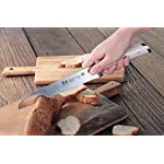 Cangshan S1 Series 59700 German Steel Forged Bread Knife, 8-Inch 15 Patent Pending Design knives that focuses on ergonomics handle with unique creme color Well balanced 5.5-inch handle and 8 blade X50Cr15MoV German Steel with HRC 58 +/- 2 on the Rockwell Hardness Scale