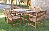Amazonia Teak Extendable Oval Newcastle Patio Dining Set, 7 Piece, Brown For Sale