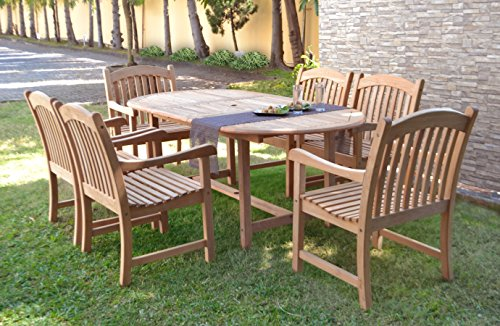 Amazonia Teak Extendable Oval Newcastle Patio Dining Set, 7 Piece, Brown