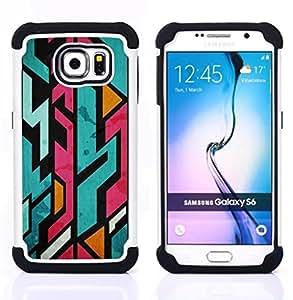 """Samsung Galaxy S6 / SM-G920 - 3 en 1 impreso colorido de Altas Prestaciones PC Funda chaqueta Negro cubierta gel silicona suave (Líneas Pink Graffiti Jagged Skate KS8"""")"""