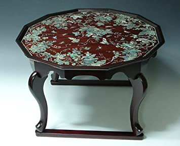 mother of pearl inlay art lacquer finish grape vine design luxury handmade solid thick wood round amazoncom oriental furniture rosewood korean tea table