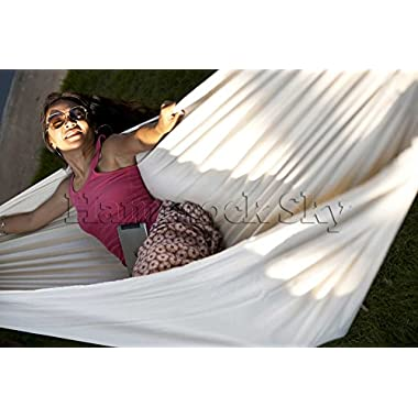 Hammock Sky Brazilian Hammock - Two Person Double for Backyard, Porch, Outdoor or Indoor Use - Portable for Camping - Soft Woven Cotton Bed for Supreme Comfort (Natural)