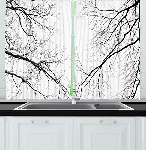 Ambesonne Forest Kitchen Curtains, Trees Branches Leafless Spooky Scary Image in a Gloomy Air Sky Scene Image, Window Drapes 2 Panel Set for Kitchen Cafe Decor, 55