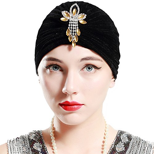 BABEYOND Women's Turban Hat with Crystal Vintage Head Wrap Knit Pleated Turban (Black)