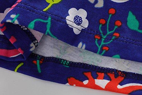 Coton Robe Fille Fleur Enfant Vikita Bleu Marine À Manches Courtes Bébé Filles Robes D'été Pour Les 2-8 Ans Jm6847