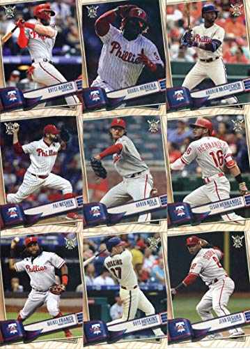 2019 Topps Big League Baseball Philadelphia Phillies Team Set of 13 Cards: Nick Williams(#76), Jake Arrieta(#88), J.T. Realmuto(#96), Scott Kingery(#117), Jean Segura(#155), Rhys Hoskins(#228), Maikel Franco(#229), Cesar Hernandez(#232), Aaron Nola(#239), Pat Neshek(#243), Andrew McCutchen(#265), Odubel Herrera(#278), Bryce Harper(#320)