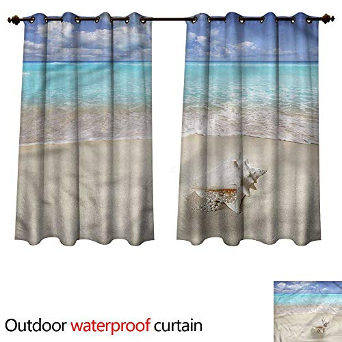 cobeDecor Seashells 0utdoor Curtains for Patio Waterproof Beach Sand Pearl Necklace W72 x L72(183cm x 183cm) ()