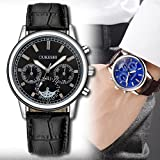 Lotus.flower Men's Vintage Analogue Quartz Dress Watch Faux Leather Business Wristwatch
