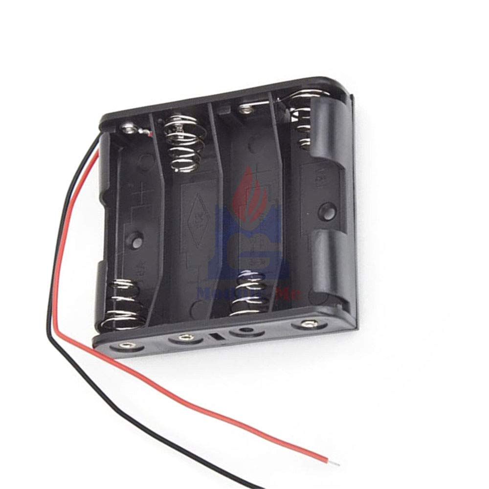 Plastic Battery Case Storage Box Holder with Wire Leads for 4 X AA 6.0V