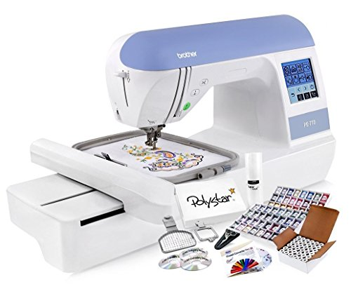 Brother PE770 Embroidery Machine + Grand Slam Package Includes 64 Embroidery Threads + Prewound Bobbins + Cap Hoop + Sock Hoop + Stabilizer + 15,000 Embroidery Designs + Scissors ($1,170 Value) (Designs Machine Embroidery Package)