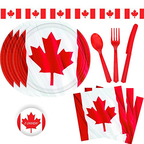 Another Dream Canada Day Bulk Party Decoration Pack for 16 with 20 Canadian Flag Plates, 20 Napkins, 16 Red Cutlery Sets, 1 Canada Banner, and 1 Exclusive O Canada Pin -