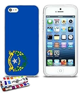 Carcasa Flexible Ultra-Slim APPLE IPHONE 5 de exclusivo motivo [Nevada Bandera] [Transparente] de MUZZANO  + ESTILETE y PAÑO MUZZANO REGALADOS - La Protección Antigolpes ULTIMA, ELEGANTE Y DURADERA para su APPLE IPHONE 5