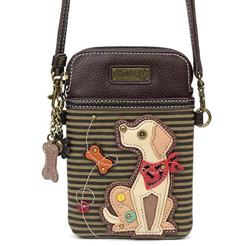 - Chala Crossbody Cell Phone Purse - Women PU Leather Multicolor Handbag with Adjustable Strap (Yellow Lab Olive Stripe)