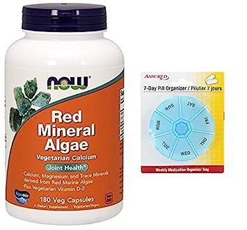 AHORA rojas algas minerales, 180 Veg cápsulas con gratis 7 días plástico píldora organizadores
