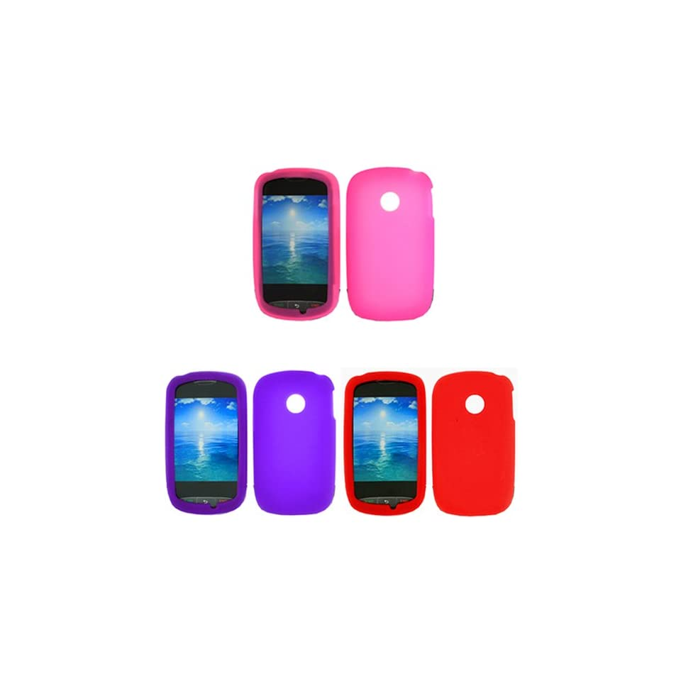 iFase Brand LG 800G Combo Solid Red Silicone Skin Case Faceplate Cover + Solid Hot Pink Silicone Skin Case Faceplate + Solid Purple Silicone Skin Case Faceplate Cover for LG 800G