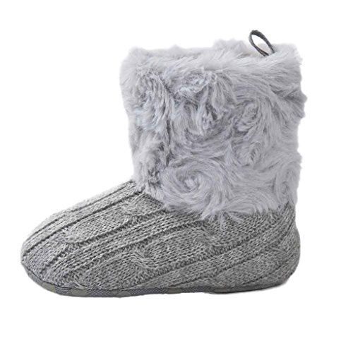 Jamicy® Mädchen-Schnee-Aufladungen Art- und Weisewinter-weiche alleinige warme Baumwollstiefel Grau