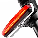 Rear Bike Light - USB Rechargeable Red LED Bicycle Tail Light, Amazingly Bright 100 lm, 6 Modes, Waterproof, 180-degree For Cycling Safety Flashlight, Easy Install on Bicycles, Helmets