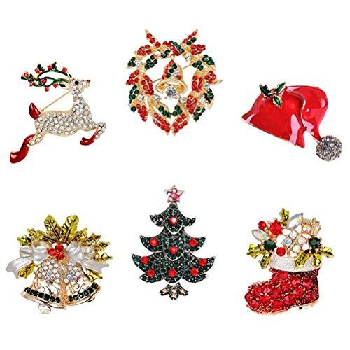 Christmas Wreath Reindeer (JUNKE Diamond-Bordered Christmas Jingle Bells/Tree/Reindeer/Wreath/Hat/Boots Brooch Crystal Rhinestone Pin Badge Brooches Xmas Gifts Christmas ornaments)
