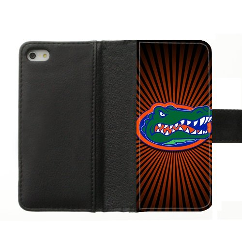 Generic Custom Unique Design NCAA University of Florida Gators Team Logo Diary Leather Case Cover for iPhone5 iPhone5S,With Credit Cards