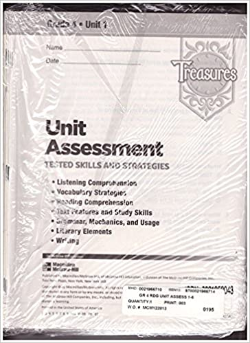 Treasures Unit Assessment Grade 3 Unit 1Tested Skills And