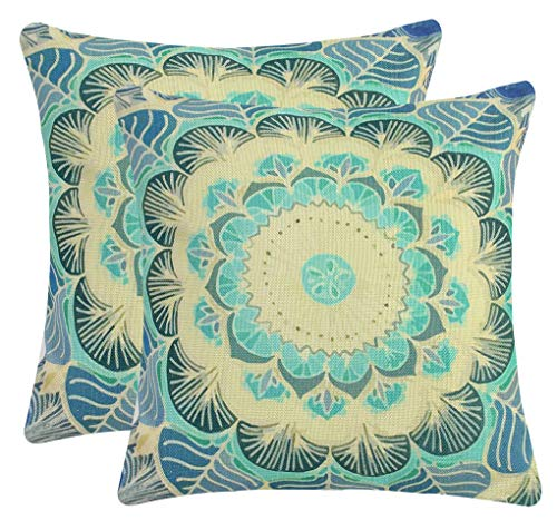 Jinbeile Mandala Floral Throw Pillow Covers Pack of 2 Gypsy Retro Decorative Pillow Case Cotton Linen Cushion Case for Sofa Bedroom Car Chair 18 x 18 Inch