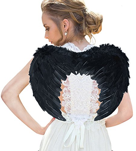 Costume Accessories Wings Black (Angel Wing Feather Halloween Costume, Cosplay Christmas Wings for Kids and Adults,)