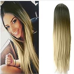 Yalasga Women Long Wigs, Full Black Root Blonde Ombre Wigs Fashion Style (B)