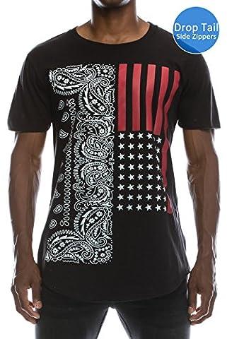 Hipster Hip Hop USA American Paisley Extra Long eLong BLACK T-shirt, 2X-LARGE - Long Graphic
