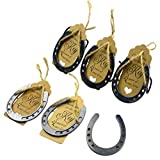 Aokbean 24pcs Lucky Horseshoe Party Favors with Fench Ribbons and Stand for Rustic Wedding Baby Shower Decoration Barn Wedding Horseshoe Gift and Thank You Place Card for Party Gift (Gunblack)