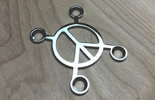 Custom Bass Neck - Xtreme Peace Sign Neck Plate for your Custom Guitar or Bass - Chrome