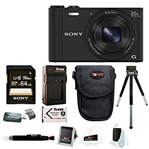 Sony DSC-WX350/B DSCWX350 WX350 18 MP Digital Camera (Black) + Sony 64GB SDXC Memory Card + Focus Camera Case + Accessory Kit