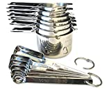 Chopnotch Stainless Steel Measuring Cups and Spoons Set of 13 - Metal Measuring Cups and Spoons