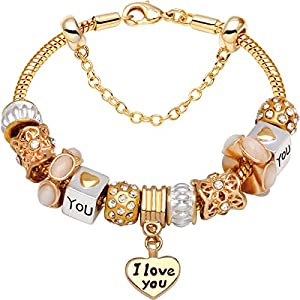 """I Love You With All My Heart"" Gold-Tone Love Heart Bead Charm Bracelet"