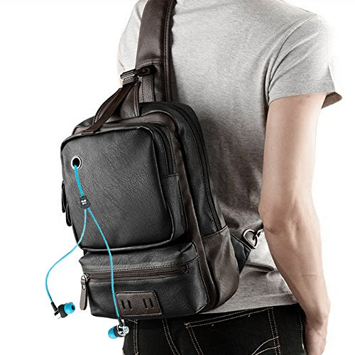 AIDERLY PU Leather Unbalance Single Sling Backpack Ipad Chest Bag for Men, GM-9009