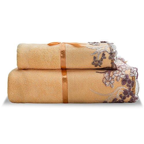 Luxury Lace Towel Set - Kushinas Decorative Lace & Ribbon Bow Towel Set - 2 Pcs - 1 Bath Towel, 1 Hand Towel - Microfiber - Elegant & Soft (Orange)