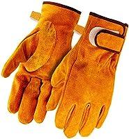 耐熱グローブ 耐火グローブ 作業用手袋 BBQ キャンプグローブ アウトドア 皮 牛革手袋 オレンジ