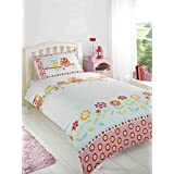 OWLS FLORAL FLOWERS POLKA DOTS PINK BLUE WHITE COTTON BLEND CANADIAN TWIN (135CM X 200CM - UK SINGLE) DUVET COMFORTER COVER