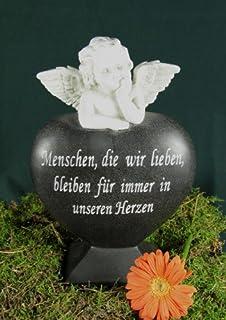 25cm Steinharz Herz Mit Engel Grabstein Gedenkstein Grab Deko Grabschmuck  Trauer