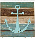 Ambesonne Anchor Shower Curtain, Timeworn Marine on Weathered Wooden Planks Rustic Nautical Theme, Cloth Fabric Bathroom Decor Set with Hooks, 70