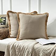 Phantoscope Pack of 2 Farmhouse Decorative Throw Pillow Covers Linen Tassel Trimmed Fall Outdoor Pillow Decor,