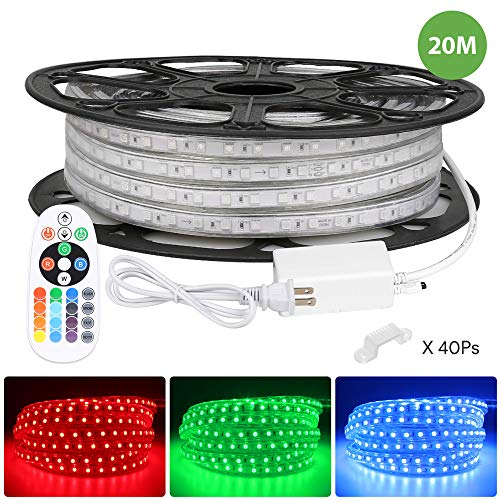 LE 65ft RGB LED Strip Lights with Remote, 120 volt, 140W 1200 SMD 5050 LEDs, Waterproof, Color Changing, ETL Listed, Indoor Outdoor LED Rope Light for Kitchen, Ceiling, Under Cabinet Lighting and More