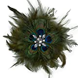 Mayuri Peacock Feather Flower Brooch/Hair Clip Accessory