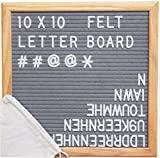 Gray Felt Letter Board 10x10 inches. Changeable Letter Boards Include 290 White Plastic Letters & Oak Frame