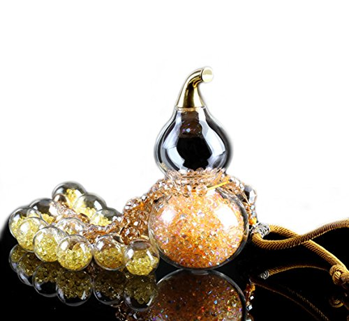 Gold Hood Ornament (eShion Gourd Shape Handmade Bling Crystal Diamond Hanging Decoration for Bag,Rear View Mirror Ornament for Car,Color Gold)